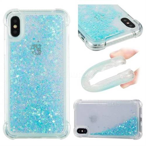 Dynamic Liquid Glitter Sand Quicksand TPU Case for iPhone XS / X / 10 (5.8 inch) - Silver Blue Star
