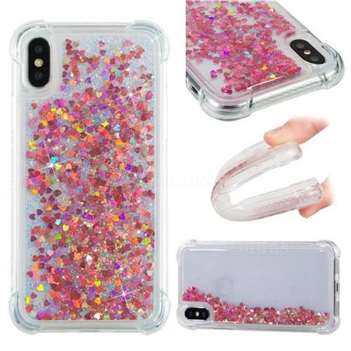 Dynamic Liquid Glitter Sand Quicksand TPU Case for iPhone XS / X / 10 (5.8 inch) - Rose Gold Love Heart