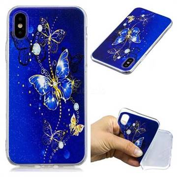 Gold and Blue Butterfly Super Clear Soft TPU Back Cover for iPhone XS / X / 10 (5.8 inch)