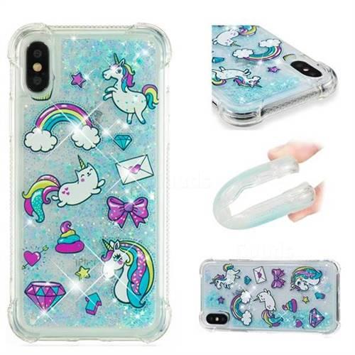 Fashion Unicorn Dynamic Liquid Glitter Sand Quicksand Star TPU Case for iPhone XS / X / 10 (5.8 inch)