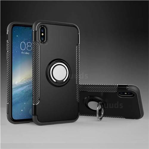 Armor Anti Drop Carbon PC + Silicon Invisible Ring Holder Phone Case for iPhone XS / X / 10 (5.8 inch) - Black