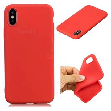 Candy TPU Soft Back Phone Cover for iPhone XS / X / 10 (5.8 inch) - Red