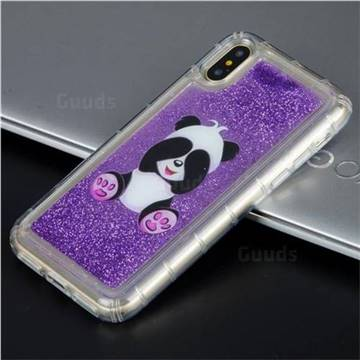 Naughty Panda Glassy Glitter Quicksand Dynamic Liquid Soft Phone Case for iPhone XS / X / 10 (5.8 inch)
