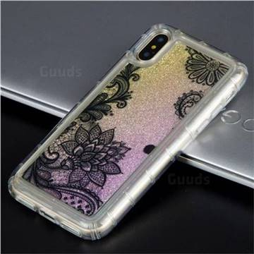 Diagonal Lace Glassy Glitter Quicksand Dynamic Liquid Soft Phone Case for iPhone XS / X / 10 (5.8 inch)