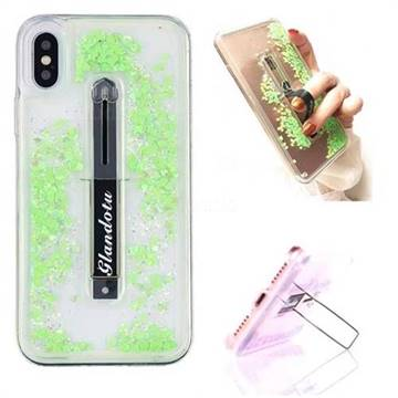 Concealed Ring Holder Stand Glitter Quicksand Dynamic Liquid Phone Case for iPhone XS / X / 10 (5.8 inch) - Green