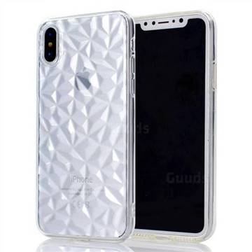 Diamond Pattern Shining Soft TPU Phone Back Cover for iPhone X(5.8 inch) - Transparent