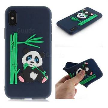 Panda Eating Bamboo Soft 3D Silicone Case for iPhone XS / X / 10 (5.8 inch) - Dark Blue