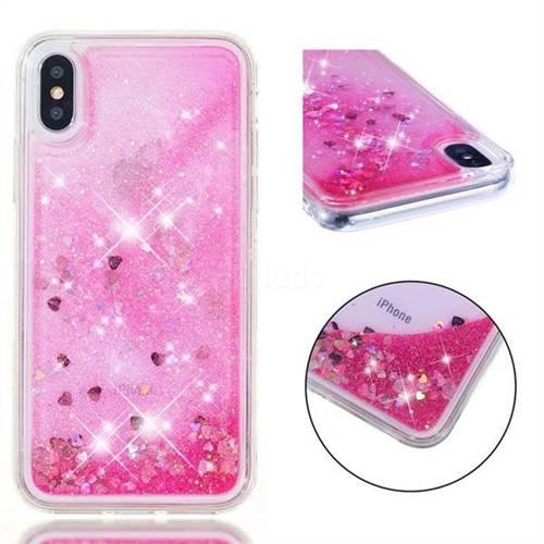 Dynamic Liquid Glitter Quicksand Sequins TPU Phone Case for iPhone XS / X / 10 (5.8 inch) - Rose