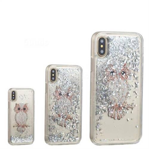 Seashell Owl Dynamic Liquid Glitter Quicksand Soft TPU Case for iPhone XS / X / 10 (5.8 inch)
