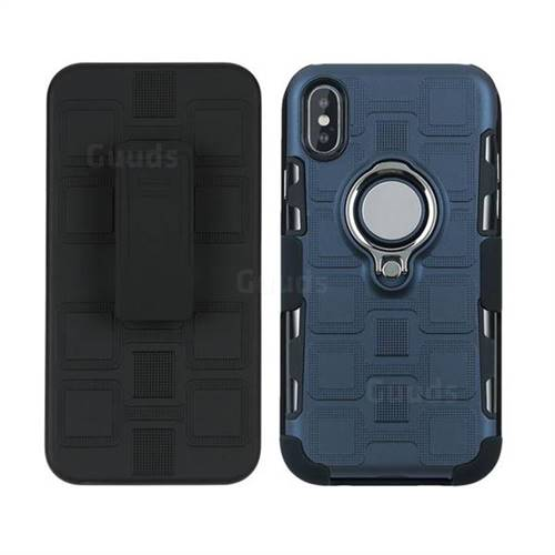 best service 6e7e1 de6c6 3 in 1 PC + Silicone Leather Phone Case for iPhone X(5.8 inch) - Royal Blue  - TPU Case - Guuds