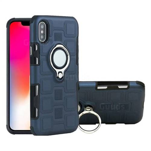 check out 6d1f5 483ee Ice Cube Shockproof PC + Silicon Invisible Ring Holder Phone Case for  iPhone X(5.8 inch) - Royal Blue - TPU Case - Guuds