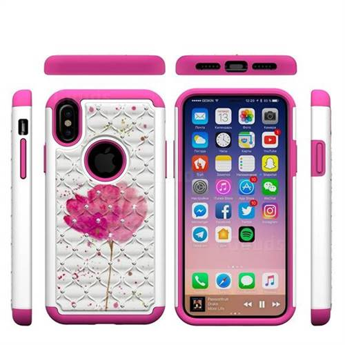 Watercolor Studded Rhinestone Bling Diamond Shock Absorbing Hybrid Defender Rugged Phone Case Cover for iPhone XS / X / 10 (5.8 inch)