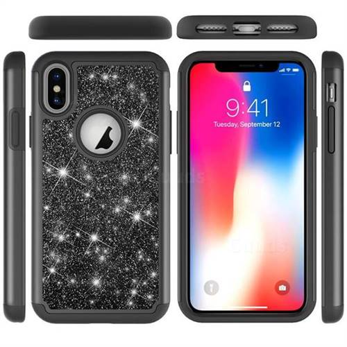 Glitter Rhinestone Bling Shock Absorbing Hybrid Defender Rugged Phone Case Cover for iPhone XS / iPhone X(5.8 inch) - Black