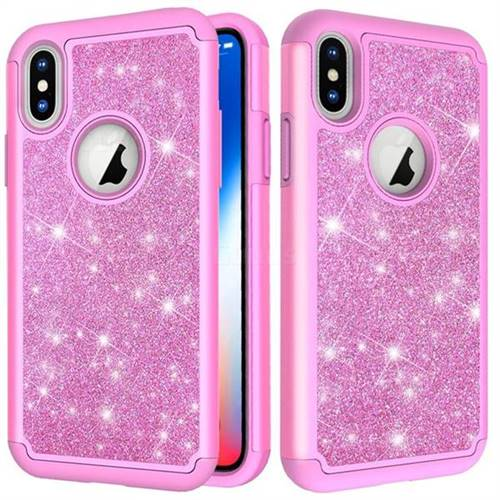 Glitter Rhinestone Bling Shock Absorbing Hybrid Defender Rugged Phone Case Cover For Iphone Xs