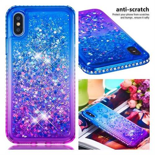 online retailer ff63e 111eb Diamond Frame Liquid Glitter Quicksand Sequins Phone Case for iPhone XS /  iPhone X(5.8 inch) - Blue Purple