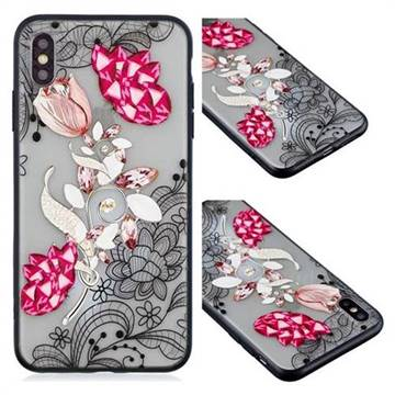 Tulip Lace Diamond Flower Soft TPU Back Cover for iPhone XS / iPhone X(5.8 inch)