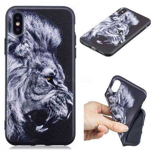 Lion 3D Embossed Relief Black TPU Cell Phone Back Cover for iPhone XS / iPhone X(5.8 inch)