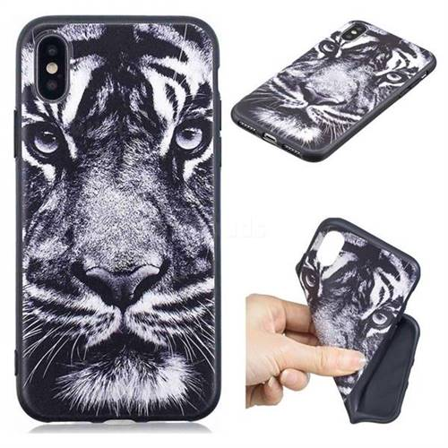 White Tiger 3D Embossed Relief Black TPU Cell Phone Back Cover for iPhone XS / iPhone X(5.8 inch)