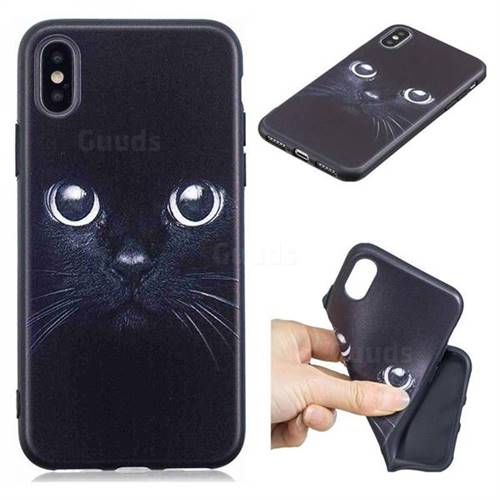 Bearded Feline 3D Embossed Relief Black TPU Cell Phone Back Cover for iPhone XS / iPhone X(5.8 inch)