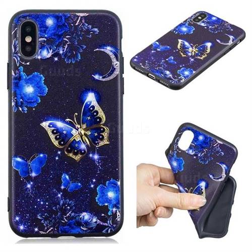 Phnom Penh Butterfly 3D Embossed Relief Black TPU Cell Phone Back Cover for iPhone XS / iPhone X(5.8 inch)