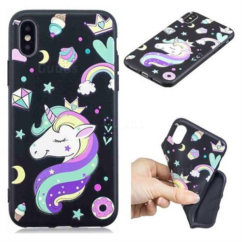 Candy Unicorn 3D Embossed Relief Black TPU Cell Phone Back Cover for iPhone XS / iPhone X(5.8 inch)
