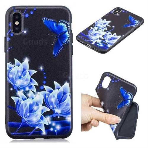 Blue Butterfly 3D Embossed Relief Black TPU Cell Phone Back Cover for iPhone XS / iPhone X(5.8 inch)