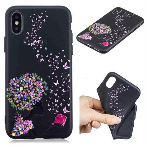 Corolla Girl 3D Embossed Relief Black TPU Cell Phone Back Cover for iPhone XS / iPhone X(5.8 inch)