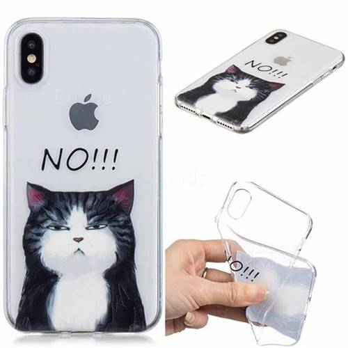 No Cat Clear Varnish Soft Phone Back Cover for iPhone XS / iPhone X(5.8 inch)