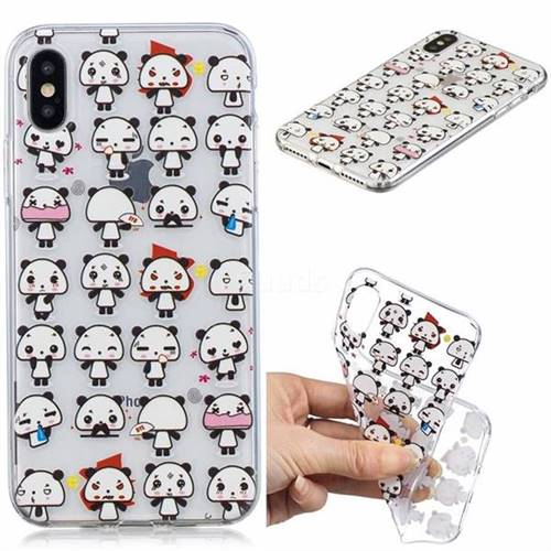 Mini Panda Clear Varnish Soft Phone Back Cover for iPhone XS / iPhone X(5.8 inch)