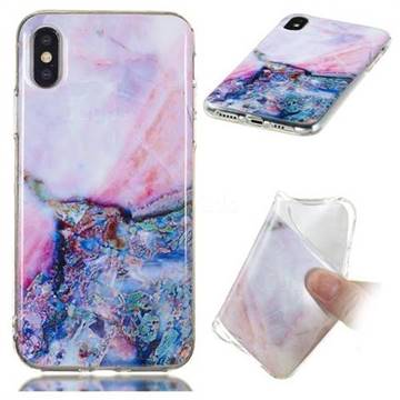 Purple Amber Soft TPU Marble Pattern Phone Case for iPhone XS / iPhone X(5.8 inch)