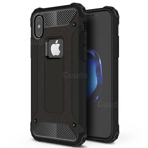 King Kong Armor Premium Shockproof Dual Layer Rugged Hard Cover for iPhone XS / iPhone X(5.8 inch) - Black Gold
