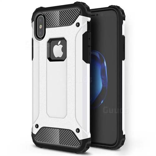 King Kong Armor Premium Shockproof Dual Layer Rugged Hard Cover for iPhone XS / iPhone X(5.8 inch) - White