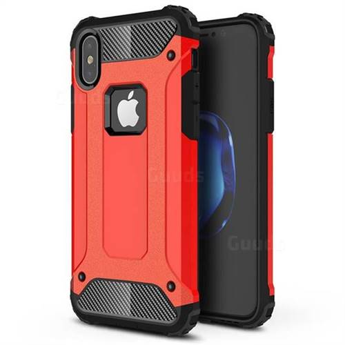 King Kong Armor Premium Shockproof Dual Layer Rugged Hard Cover for iPhone XS / iPhone X(5.8 inch) - Big Red