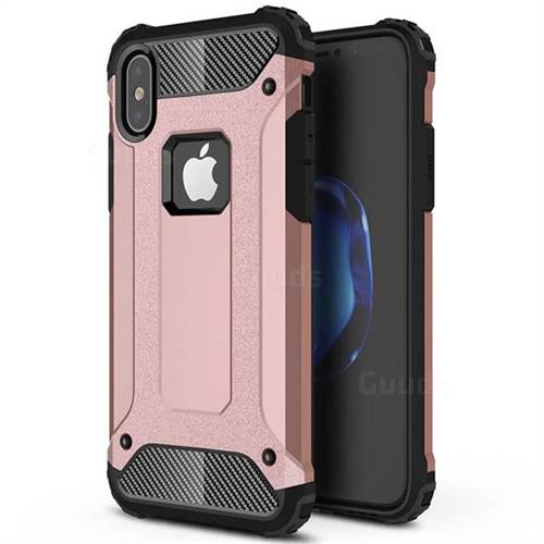 King Kong Armor Premium Shockproof Dual Layer Rugged Hard Cover for iPhone XS / iPhone X(5.8 inch) - Rose Gold