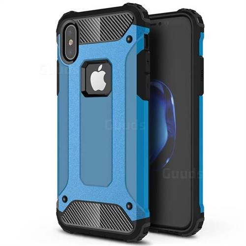 King Kong Armor Premium Shockproof Dual Layer Rugged Hard Cover for iPhone XS / iPhone X(5.8 inch) - Sky Blue