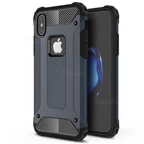 King Kong Armor Premium Shockproof Dual Layer Rugged Hard Cover for iPhone XS / iPhone X(5.8 inch) - Navy