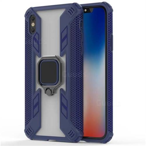 Predator Armor Metal Ring Grip Shockproof Dual Layer Rugged Hard Cover for iPhone XS / iPhone X(5.8 inch) - Blue