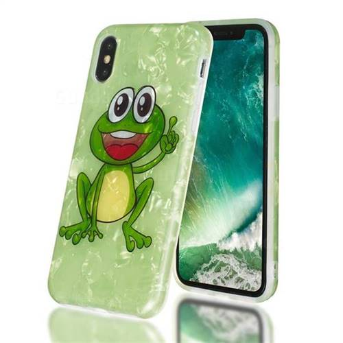 Smile Frog Shell Pattern Clear Bumper Glossy Rubber Silicone Phone Case for iPhone XS / iPhone X(5.8 inch)