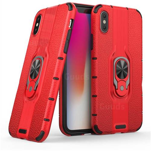 Alita Battle Angel Armor Metal Ring Grip Shockproof Dual Layer Rugged Hard Cover for iPhone XS / iPhone X(5.8 inch) - Red