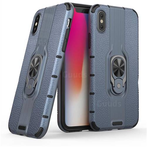 Alita Battle Angel Armor Metal Ring Grip Shockproof Dual Layer Rugged Hard Cover for iPhone XS / iPhone X(5.8 inch) - Blue