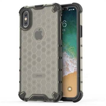 Honeycomb TPU + PC Hybrid Armor Shockproof Case Cover for iPhone XS / iPhone X(5.8 inch) - Gray