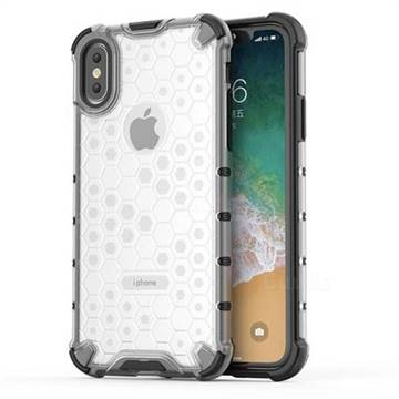 Honeycomb TPU + PC Hybrid Armor Shockproof Case Cover for iPhone XS / iPhone X(5.8 inch) - Transparent