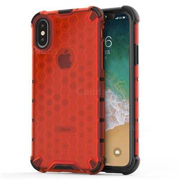 Honeycomb TPU + PC Hybrid Armor Shockproof Case Cover for iPhone XS / iPhone X(5.8 inch) - Red