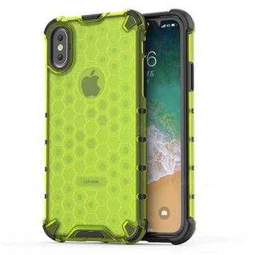 Honeycomb TPU + PC Hybrid Armor Shockproof Case Cover for iPhone XS / iPhone X(5.8 inch) - Green