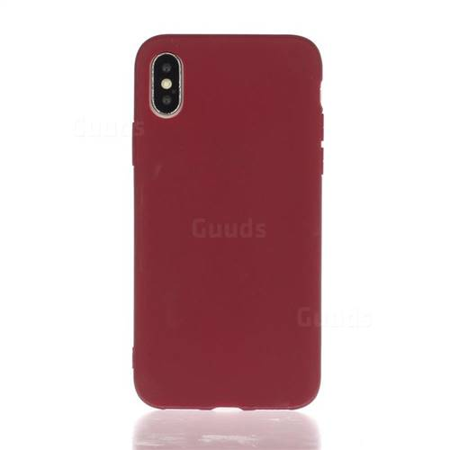 scarpe sportive a3388 90136 Soft Matte Silicone Phone Cover for iPhone XS / iPhone X(5.8 inch) - Wine  Red