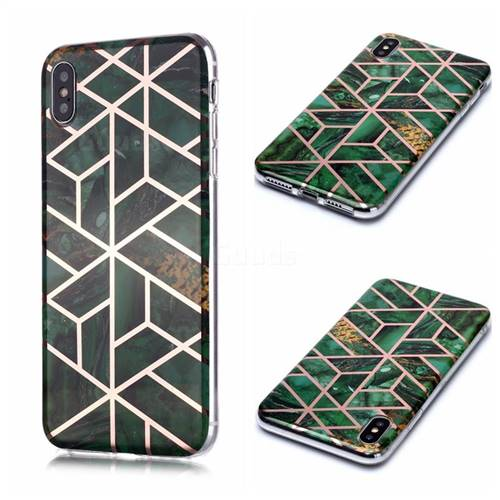 Green Rhombus Galvanized Rose Gold Marble Phone Back Cover for iPhone XS / iPhone X(5.8 inch)