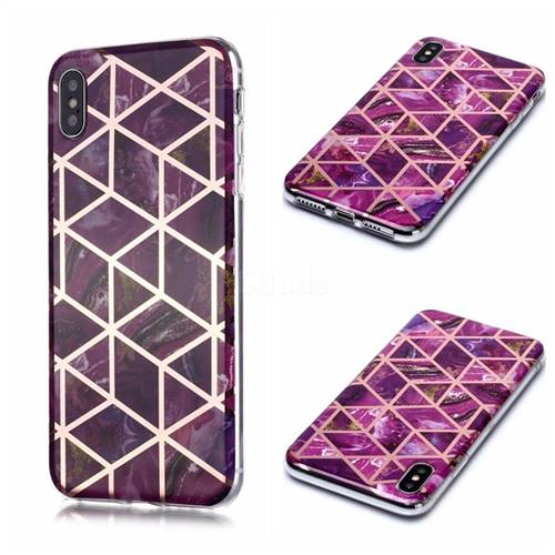 Purple Rhombus Galvanized Rose Gold Marble Phone Back Cover for iPhone XS / iPhone X(5.8 inch)