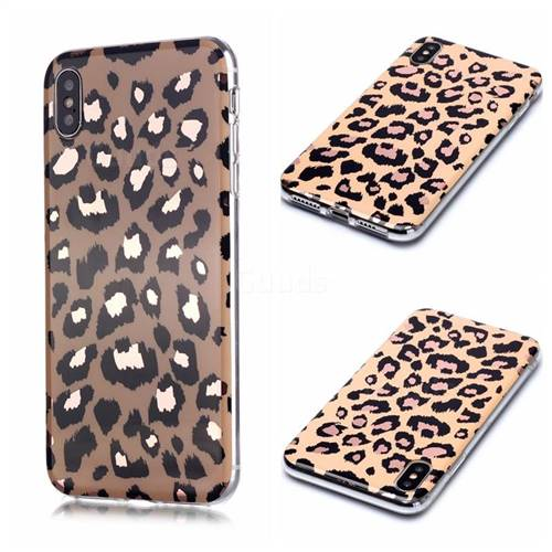 Leopard Galvanized Rose Gold Marble Phone Back Cover for iPhone XS / iPhone X(5.8 inch)