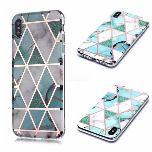 Green White Galvanized Rose Gold Marble Phone Back Cover for iPhone XS / iPhone X(5.8 inch)