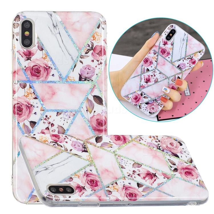 Rose Flower Painted Galvanized Electroplating Soft Phone Case Cover for iPhone XS / iPhone X(5.8 inch)